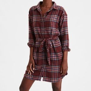 American Eagle Plaid Long Sleeve Shirt Dress | XXL